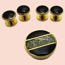 Vintage Tuxedo Set With Black Enamelling And Clear CZ Accents on Button Cover