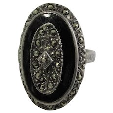 Sterling Silver Deco Marcasite and Enamel Ring