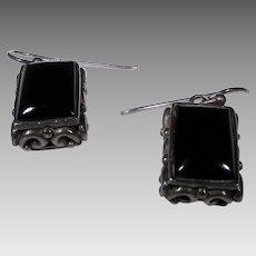 Sterling Silver Onyx Pierced Earrings Lantern Style