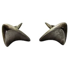 Sterling Silver George Jensen Cuff Links in Abstract Swirl