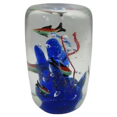 Vintage Intricate Blown Glass Aquarium Paperweight With Coral and Fish