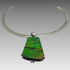 14 Karat White Gold Ammolite Pendant in Shades of Deep Blue and Green with Diamond Accents