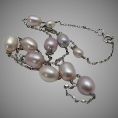 Sterling Silver Necklace With PInk Freshwater Pearls