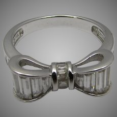 Sterling Silver Bow Ring With Baguette Cut Crystals