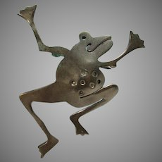 Sterling Silver Jazzy Frog Pin Signed Far Fetched