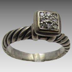 David Yurman Sterling Silver and 14 Karat Diamond Ring