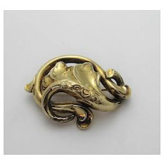 14 Karat Yellow Gold Early Pin or Pendant from Art Nouveau Period