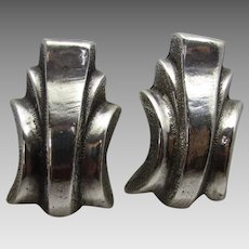 Sterling Silver Deco Clip On Earrings