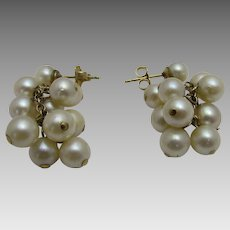 14 Karat Yellow Gold Cultured Pearl Drop Earrings for Pierced Ears