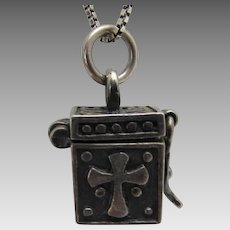 Sterling Silver Religious Hinged Box Charm on Sterling Silver Italian Chain