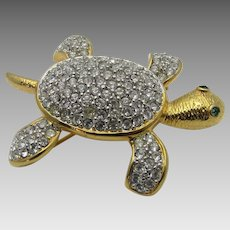 Vintage Joan Rivers Goldtone Crystal Clad Turtle Pin with Green Crystal Eyes