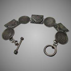 Sterling Silver Segment Bracelet Replica of Pre Columbian Meso-American Design