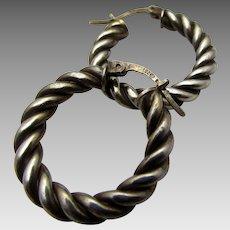 Sterling Silver Braided Hoop Pierced Earrings