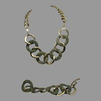 Vintage 1980's Monet Signed Set With Matching Necklace and Bracelet of Goldtone Links and Faux Snakeskin Links