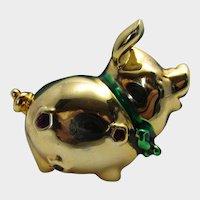 Vintage Shiny Goldtone Pig With Jewel Tone Enhancements