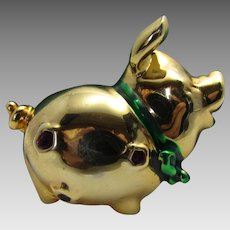 Vintage Shiny Goldtone Pig With Jewel Tone Enhancements