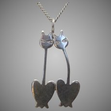"""Sterling Silver """"Cats in Love"""" Pendant on a Sterling Silver Chain"""