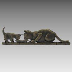 Vintage JJ Bronzed Tone Mother Cat and Kitten Sharing Dinner Pin