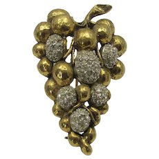 Vintage Jeanne Goldtone Grape Cluster With Some Crystal Accents