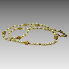 Vintage Trifari Necklace With Faux Pearls and Faux Florentine Goldtone Bead Separators