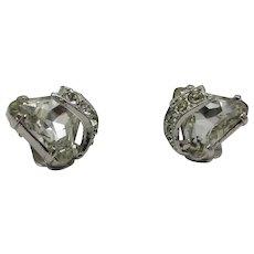 Vintage Signed Eisenberg Clip Earring With Large Swarovski Crystals