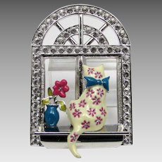 Vintage Bob Mackie Enamelled Cat in a Crystal Window Frame Pin