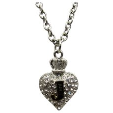 Vintage Juicy Couture Necklace of Silver Tone Chain and Two Sided Heart Pendant