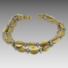 Vintage Crown Trifari Two Strand Bracelet With Goldtone Beads and Silver Tone Findings