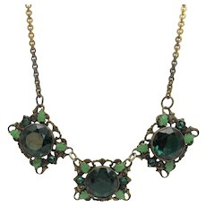 Vintage Early Brass Segment Necklace With Dark Green Crystals and Enamelled Detailing