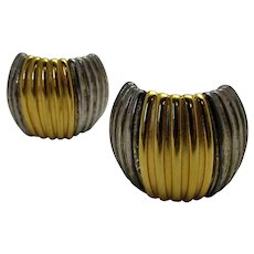 Vintage Signed Givenchy Two Tone Clip On Earrings in Silver Tone and Goldtone