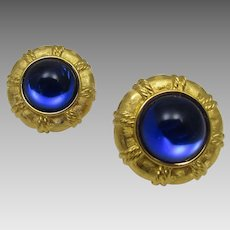 Vintage Joan Rivers Goldtone Clip On Earrings With Large Faux Tanzanite Center Stone