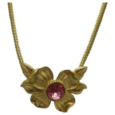 Vintage Signed Trifari Goldtone Necklace With Stunning Pink Crystal Center