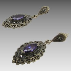 Sterling Silver Amethyst Drops for Pierced Earrings