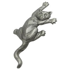 Vintage Stretching Cat Pin in Pewter Tone Signed JJ dated 1988