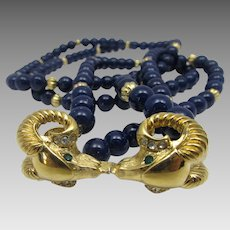 Vintage Kenneth J. Lane for Avon Navy Lucite Bead Double Strand Necklace With Rams Head Focal Clasp