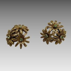 Vintage Oscar De La Renta Signed Goldtone Flower Cluster Pierced Earrings