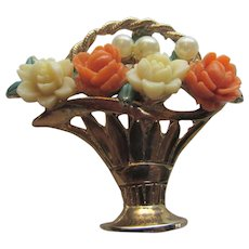 Vintage Bouquet in Bride's Basket Pin In Goldtone With Carved Lucite Flowers and Faux Pearls