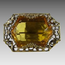 Vintage Goldtone Filagree Pin With  Carved Un-Backed Faux Citrine