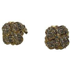 Vintage Swarovski Crystal Clip On Earrings in Goldtone