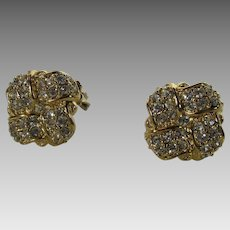 Vintage Swarovski Crystal Clip On Earrings in Goldtone