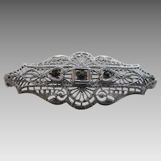 Vintage Deco Rhodium Coated Pin With Marcasite Accents