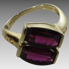14 Karat Yellow Gold Contemporary Ring With Matched Rubellite Garnets