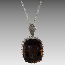 Sterling Silver Citrine Pendant on a Sterling Silver Chain With Clear CZ Surround