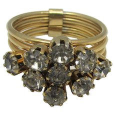Vintage Five Band Costume Ring With Clear Crystals Across The Top