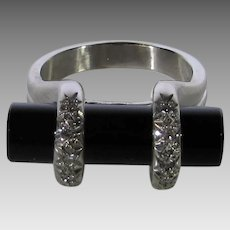 14 Karat White Gold Contemporary Onyx and DIamond Ring