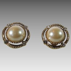 Vintage Ivana Clip On Earrings Featuring Faux Mabe Pearl and Clear Crystal Accents