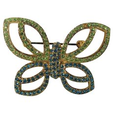 Vintage Joan Rivers Butterfly Pin Decorated in Turquoise and Lime Green Crystals