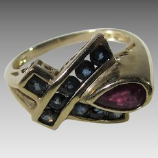 10 Karat Yellow Gold Ruby and Sapphire Contemporary Ring