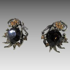 Vintage Hollycraft Clip On Dated 1954 With Faux Smokey Topaz and Faux Citrine Accents