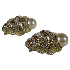 Vintage Christian Dior Goldtone Clip On Earrings With Faux Pearls and Clear Crystals